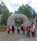 Une entrée de parc faite d'andouillers Photo stock