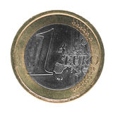 Une euro pièce de monnaie d'EUR, UE d'Union européenne d'isolement au-dessus du blanc Image libre de droits