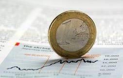Une euro pièce de monnaie - image courante photo stock