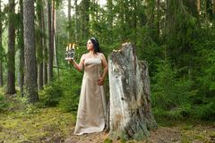 Une fée de forêt dans des vêtements blancs avec un chandelier a allumé des bougies dans la forêt photographie stock