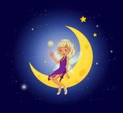 Une fée tenant une baguette magique se reposant à la lune Photographie stock