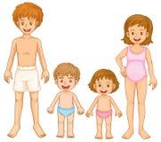 Une famille dans leur vêtement de natation illustration de vecteur