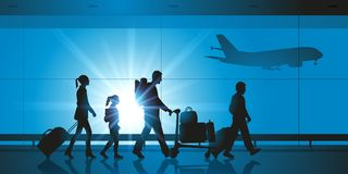 Une famille dans un aéroport avant l'embarquement illustration stock