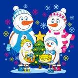 Une famille des bonhommes de neige heureux célèbre Noël et la nouvelle année illustration stock
