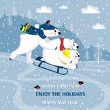 Une famille des ours blancs de sourire drôles Polaire concerne un fond d'un paysage d'hiver Photos stock