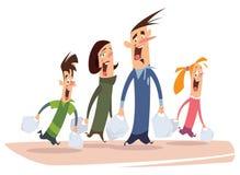 Achats heureux de famille de bande dessinée Photographie stock libre de droits