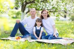 Une famille heureuse de trois personnes à un pique-nique photo stock