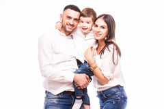 Une famille heureuse : mère, père et fils Images stock