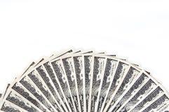 Une fan de cent billets d'un dollar du long côté Fond blanc D'isolement Photo libre de droits