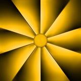 Une fan jaune sur l'obscurité Image libre de droits