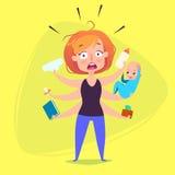 Une femme avec un enfant panique en raison des fonctions Image stock