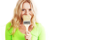 Une femme avec une brosse Photo stock