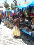 Une femme bolivienne organisant son marché photos stock