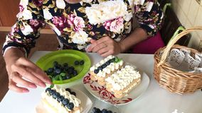 Une femme décore un gâteau avec les feuilles en bon état Des couches de biscuits de savoiardi et les couches crèmes sont décorées clips vidéos