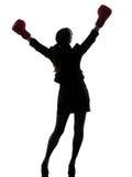 Silhouette de gants de boxe de femme d'affaires photo stock