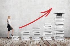 Une femme dans des vêtements formels va consommation les escaliers qui sont faits de livres blancs Un chapeau d'obtention du dipl images stock