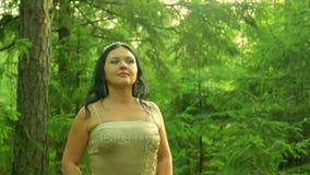 Une femme dans l'image d'une fée de forêt en clairière de forêt banque de vidéos