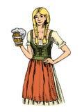 Une femme dans le Belge traditionnel ou des vêtements bavarois avec de la bière gravé en encre tirée par la main dans le vieux st illustration de vecteur