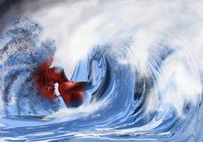 Une femme dans les vagues Photo libre de droits