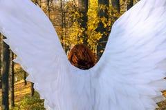 Une femme dans un costume blanc d'ange sur un fond du paysage d'automne photo stock