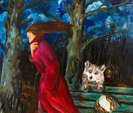 Une femme entrant pendant la nuit Allégorie du départ illustration de vecteur