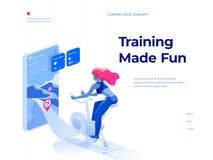 Une femme faisant une séance d'entraînement sur un vélo-entraîneur et employant une application mobile pour observer sa représent illustration stock
