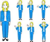 Une femme genres de port d'un _7 de veste de poses illustration de vecteur