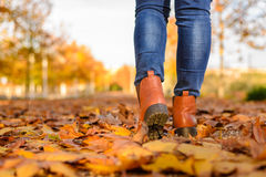 Une femme marchant à la saison d'automne Photographie stock libre de droits