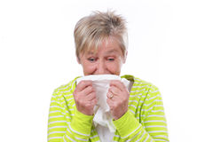 Une femme plus âgée avec le mouchoir Photographie stock libre de droits