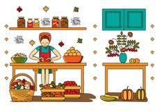 Une femme prépare la moisson d'automne Récolte et Autumn Design Elements de chute illustration libre de droits
