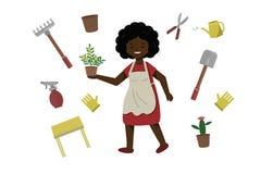 Une femme pulvérise une fleur dans un pot La femelle prend soin des usines domestiques La dame heureuse élève des fleurs illustration de vecteur
