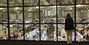 Une femme regarde fixement vers le bas la gemme de Tucson et l'exposition minérale Photo stock