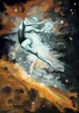 Une femme s'échappe dans un ciel étoilé Photos stock