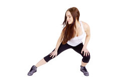 Une femme s'exerce Streching Forme physique Image stock