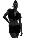 Femme sexy en silhouette uniforme de portrait d'armée Photographie stock