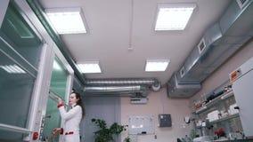 Une femme travaille dans un laboratoire clips vidéos