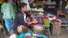 Une femme vendant des poissons au marché local à Mandalay, Myanmar banque de vidéos