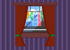 Une fenêtre avec une vue de ville illustration de vecteur