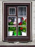 Une fenêtre en bois en dehors de la maison avec les fleurs fleurissantes de géranium dans une vieille maison européenne tradition image libre de droits