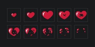 Une feuille de lutin, explosion d'un coeur Animation pour un jeu ou une bande dessin?e illustration libre de droits