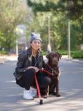 Une fille étreint son chien tout en s'accroupissant un chien Photographie stock