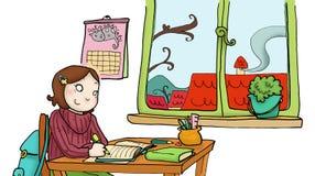 Une fille étudie dans sa chambre Photo stock
