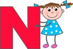 Une fille avec la lettre N Photos stock