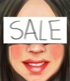Une fille avec les cheveux noirs avec une inscription est vente dans le style de la peinture à l'huile Photos stock