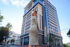 Une fille avec un beau chiffre dans une robe grise près d'un édifice haut images stock