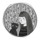 Une fille avec un chat illustration de vecteur