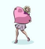 Une fille avec un coeur énorme illustration de vecteur