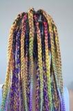 Une fille avec un ensemble à la mode de tresses multicolores Kanekalon Mèches artificielles colorées des cheveux Photos libres de droits
