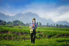 Une fille chinoise dans l'uniforme Photos libres de droits