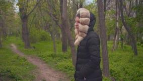 Une fille dans une veste noire chaude marche par les bois La fille et la cam?ra se d?placent en parall?le banque de vidéos